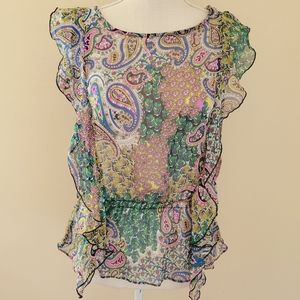 Susie Rose paisley ruffled blouse size medium